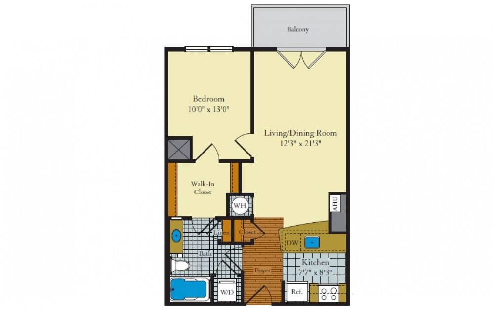 Eastgate-1C3 - 1 bedroom floorplan layout with 1 bath and 646 square feet.