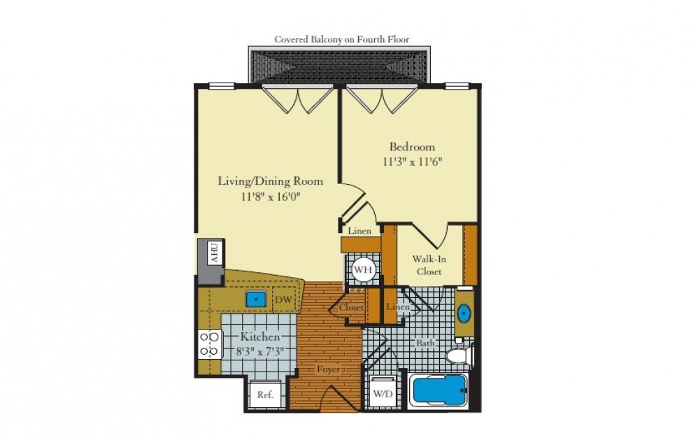Governor-1A1 - 1 bedroom floorplan layout with 1 bath and 628 square feet.