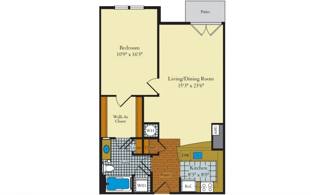 Greenwich-1F1 - 1 bedroom floorplan layout with 1 bath and 796 square feet.