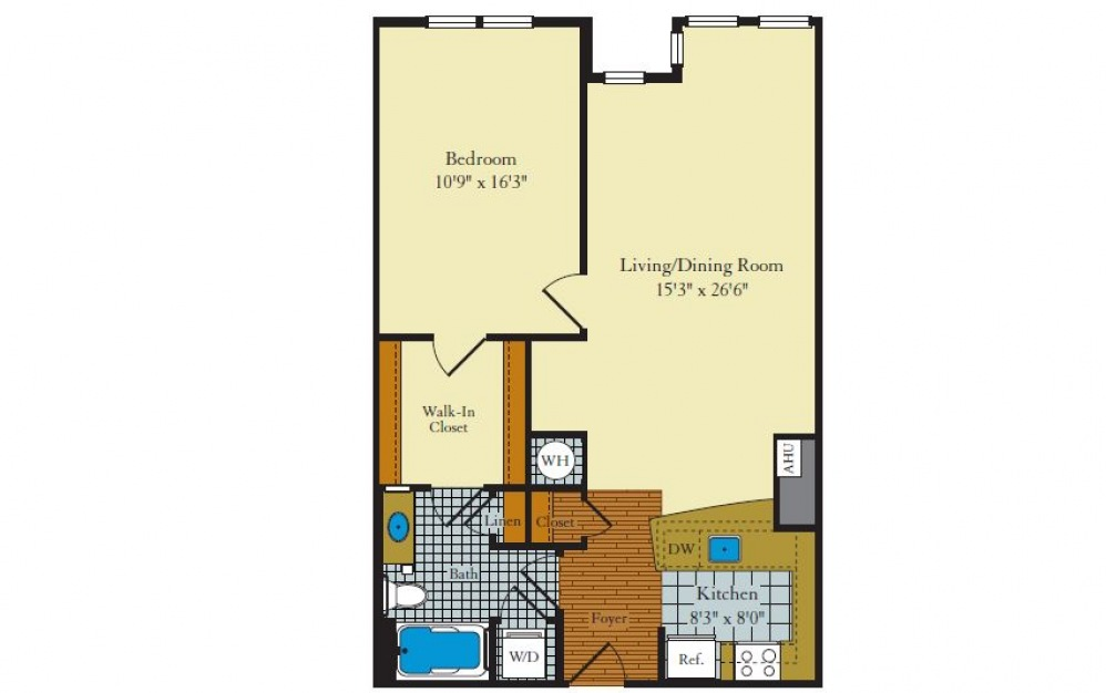 Greenwich-1F2 - 1 bedroom floorplan layout with 1 bath and 818 square feet.