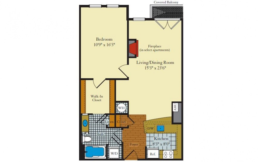 Greenwich-1F4 - 1 bedroom floorplan layout with 1 bath and 795 square feet.