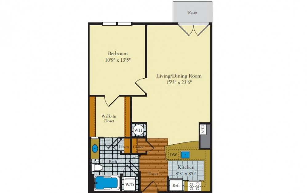 Greenwich-1F5 - 1 bedroom floorplan layout with 1 bath and 762 square feet.