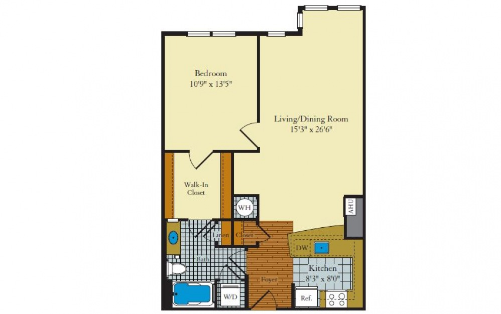Greenwich-1F6 - 1 bedroom floorplan layout with 1 bath and 785 square feet.