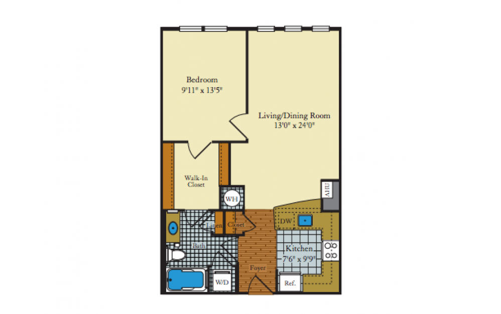 Idylwood - 1 bedroom floorplan layout with 1 bath and 742 square feet.