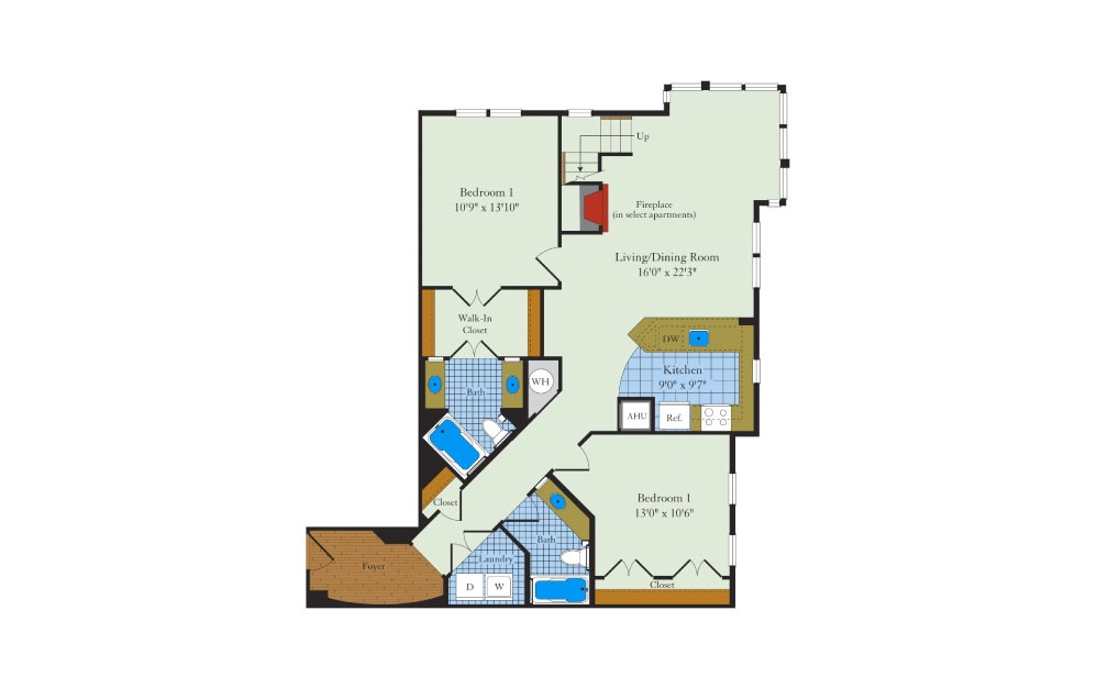 Rutgers-2FL - 2 bedroom floorplan layout with 2 baths and 1395 square feet. (Floor 1)