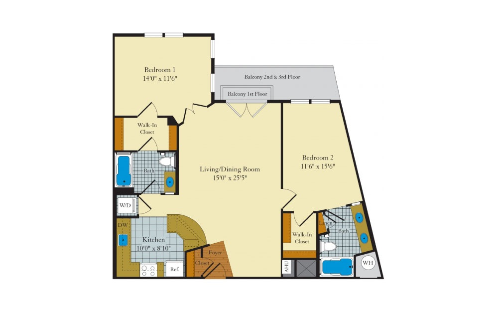 Allwood - 2 bedroom floorplan layout with 2 baths and 1048 square feet.