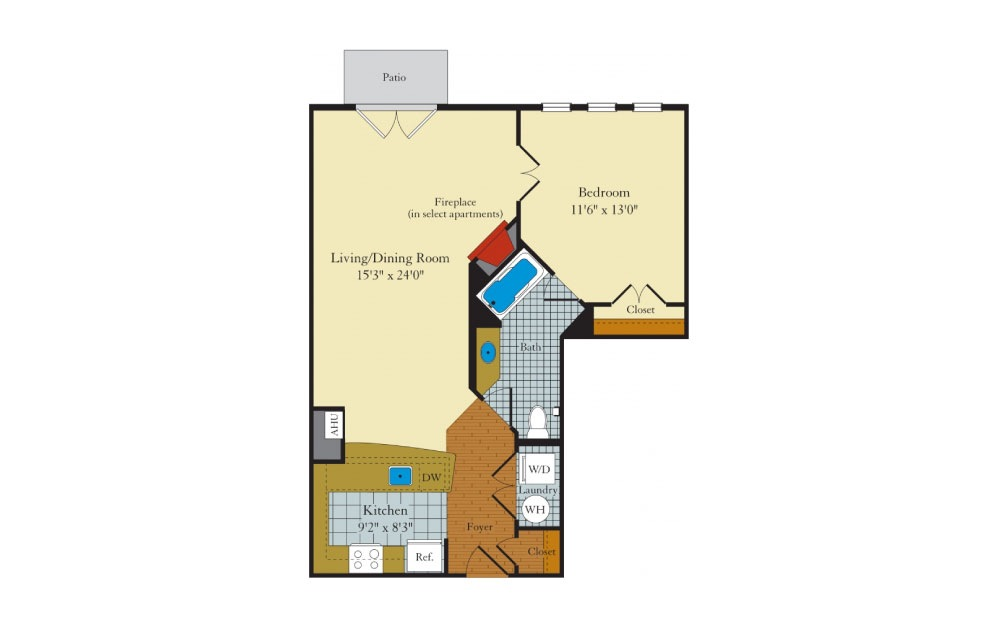 Bristol-1E1 - 1 bedroom floorplan layout with 1 bath and 788 square feet.