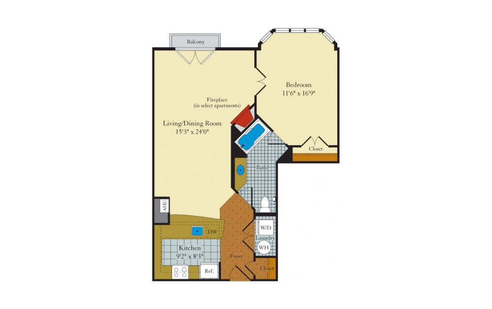 Bristol-1E2 - 1 bedroom floorplan layout with 1 bath and 812 square feet.