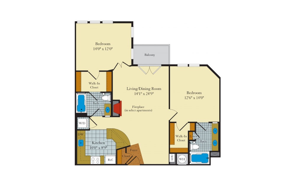 Brunswick - 2 bedroom floorplan layout with 2 baths and 1054 square feet.