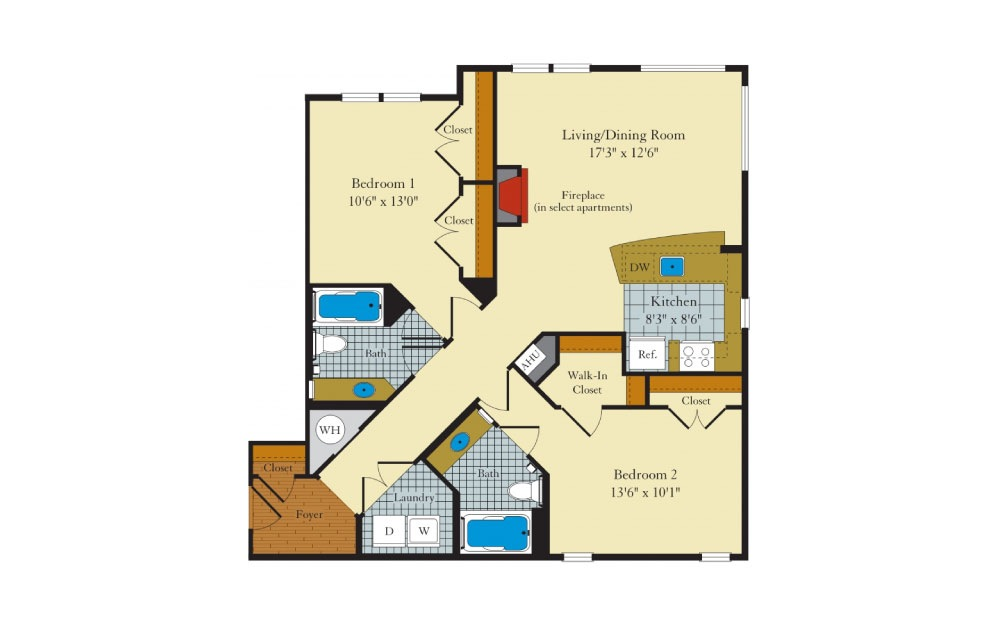 Clifton - 2 bedroom floorplan layout with 2 baths and 1058 square feet.