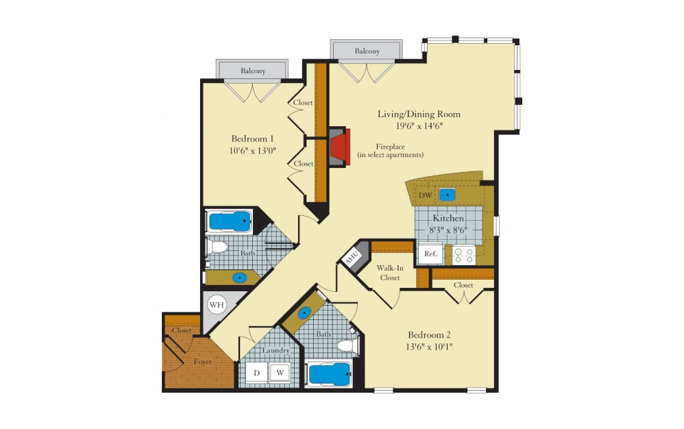 Clifton - 2 bedroom floorplan layout with 2 baths and 1090 square feet.