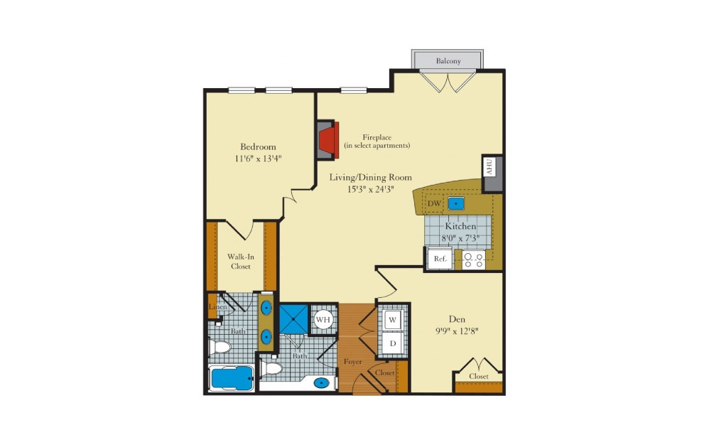 Coolidge - 1 bedroom floorplan layout with 2 baths and 1049 square feet.