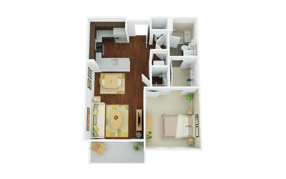 1A - 1 bedroom floorplan layout with 1 bath and 746 square feet.