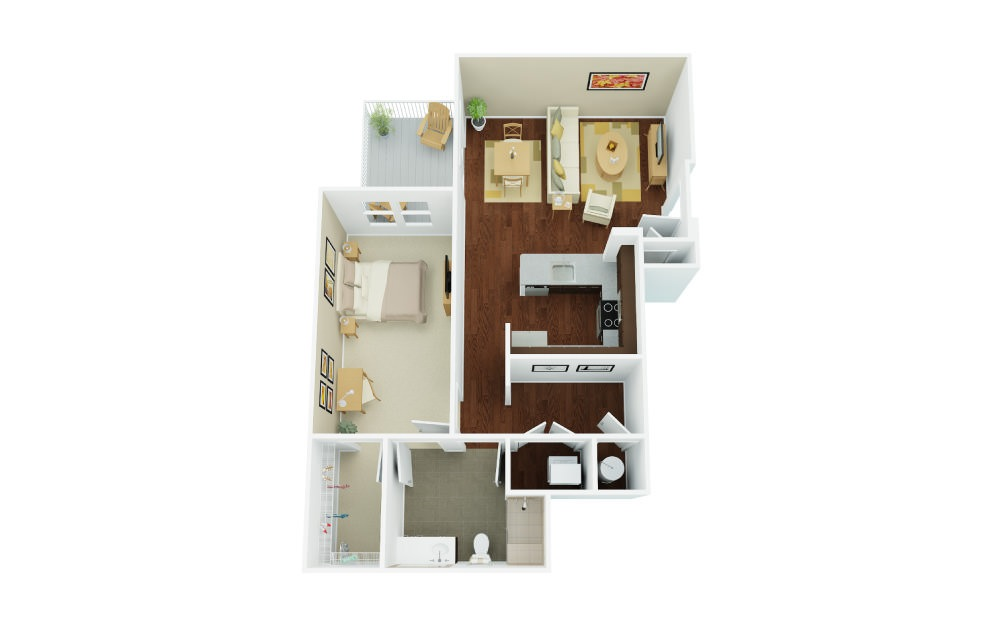 1B - 1 bedroom floorplan layout with 1 bath and 988 square feet.