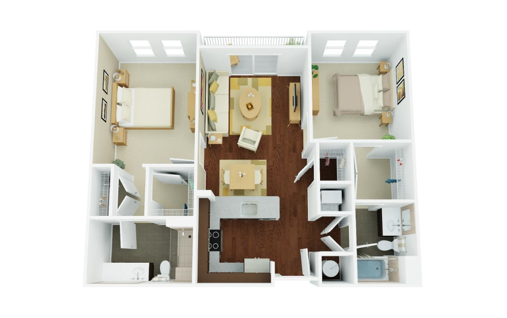 2A - 2 bedroom floorplan layout with 2 baths and 1104 square feet.