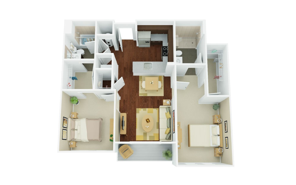 2B - 2 bedroom floorplan layout with 2 baths and 1097 square feet.