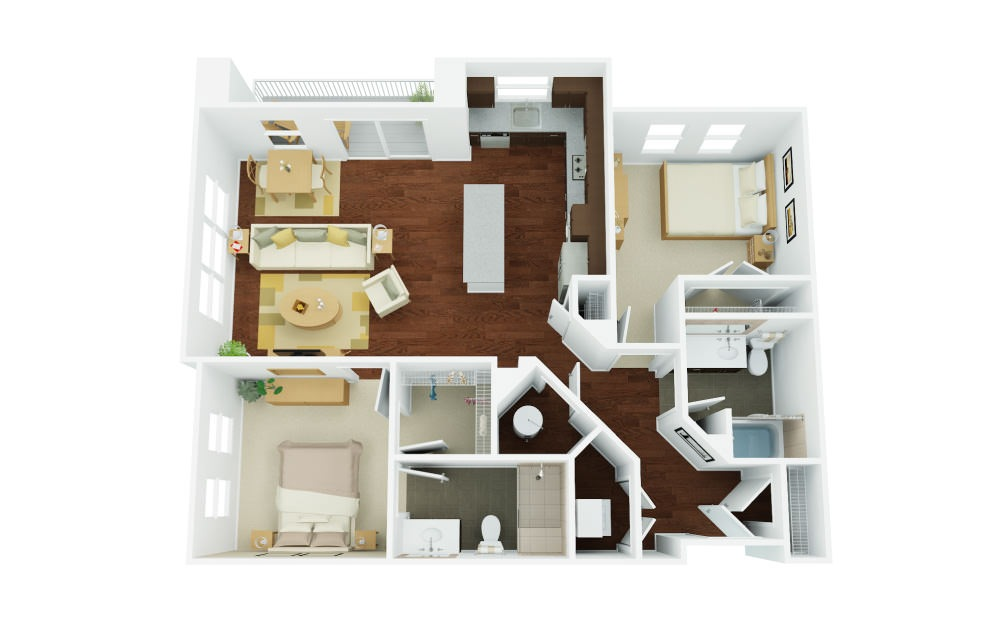 2C - 2 bedroom floorplan layout with 2 baths and 1164 square feet.