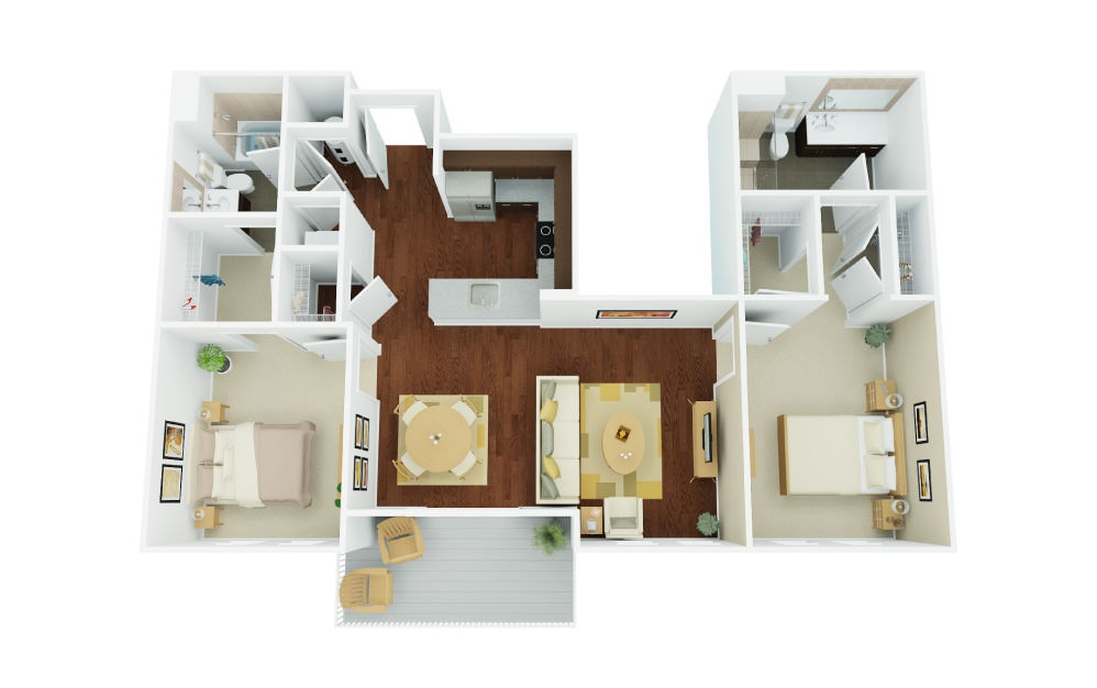 2D - 2 bedroom floorplan layout with 2 baths and 1246 square feet.