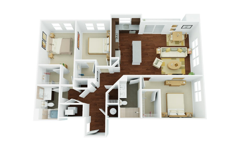 3A - 3 bedroom floorplan layout with 2 baths and 1429 square feet.