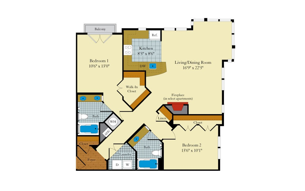 Hamilton-2E3 - 2 bedroom floorplan layout with 2 baths and 1183 square feet.