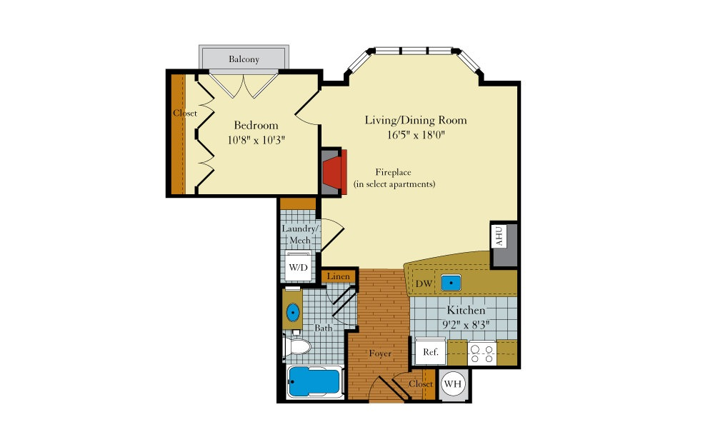 Rollingwood-1B2 - 1 bedroom floorplan layout with 1 bath and 656 square feet.