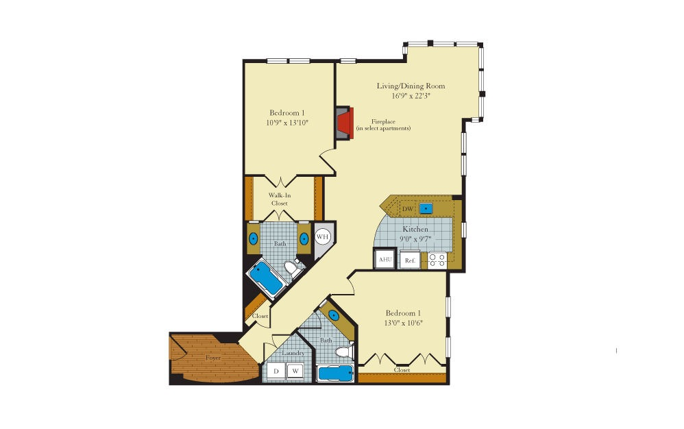 Rutgers-2F2 - 2 bedroom floorplan layout with 2 baths and 1213 square feet.