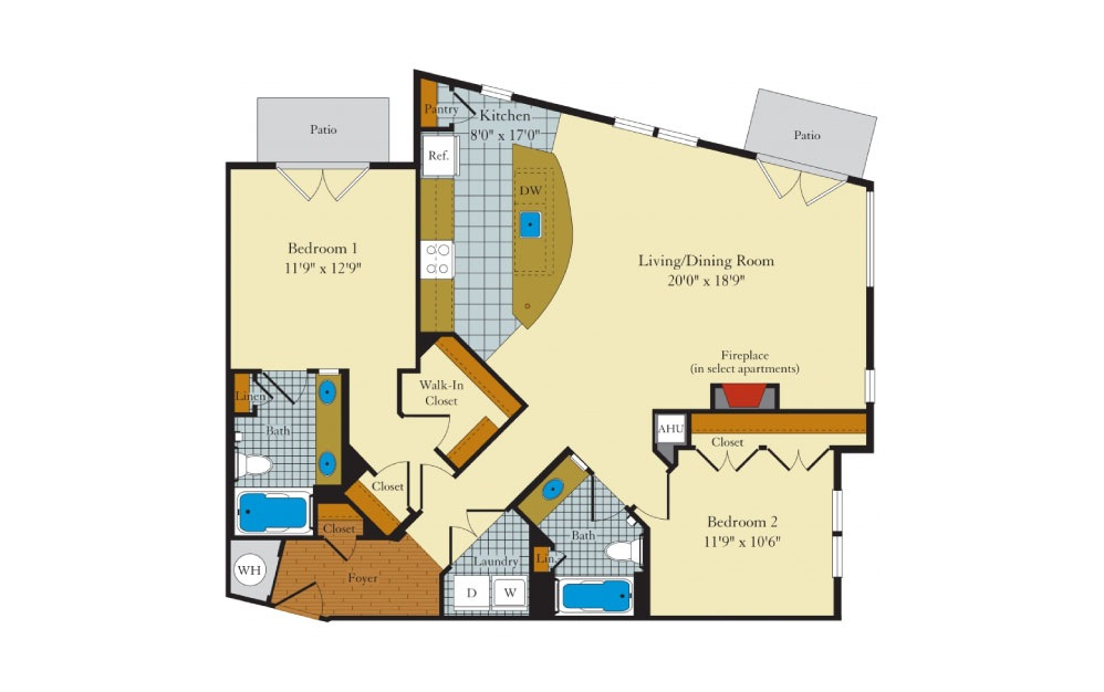 Greenlawn-2G1 - 2 bedroom floorplan layout with 2 baths and 1218 square feet.
