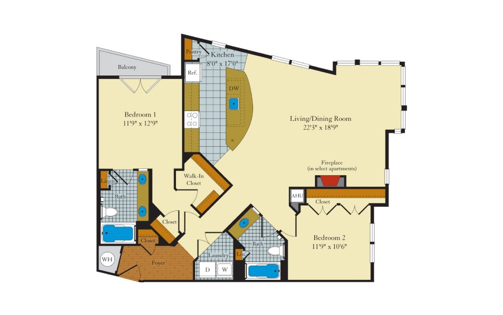 Greenlawn-2G2 - 2 bedroom floorplan layout with 2 baths and 1253 square feet.