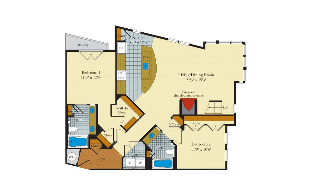 Greenlawn-2GL - 2 bedroom floorplan layout with 2 baths and 1458 square feet. (Floor 1)