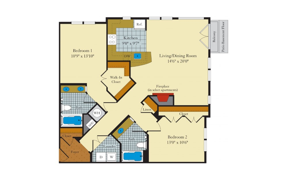 Hamilton-2E1 - 2 bedroom floorplan layout with 2 baths and 1151 square feet.