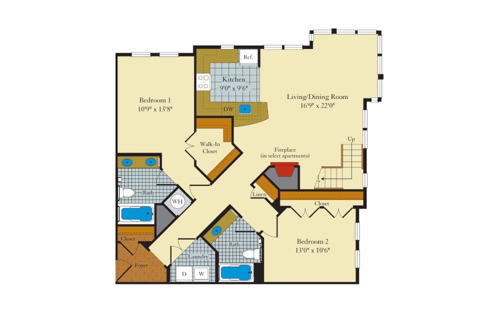 Hamilton - 2 bedroom floorplan layout with 2 baths and 1363 square feet. (Floor 1)