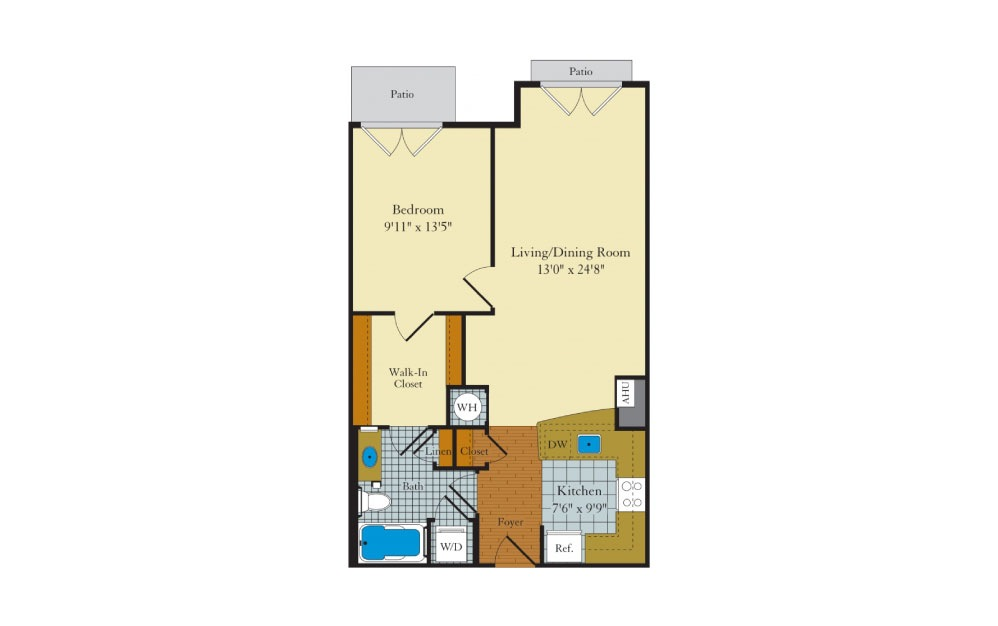 Idylwood - 1 bedroom floorplan layout with 1 bath and 743 square feet.