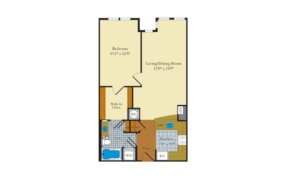 Idylwood - 1 bedroom floorplan layout with 1 bath and 748 square feet.