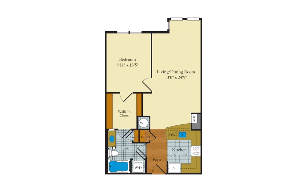 Idylwood - 1 bedroom floorplan layout with 1 bath and 766 square feet.