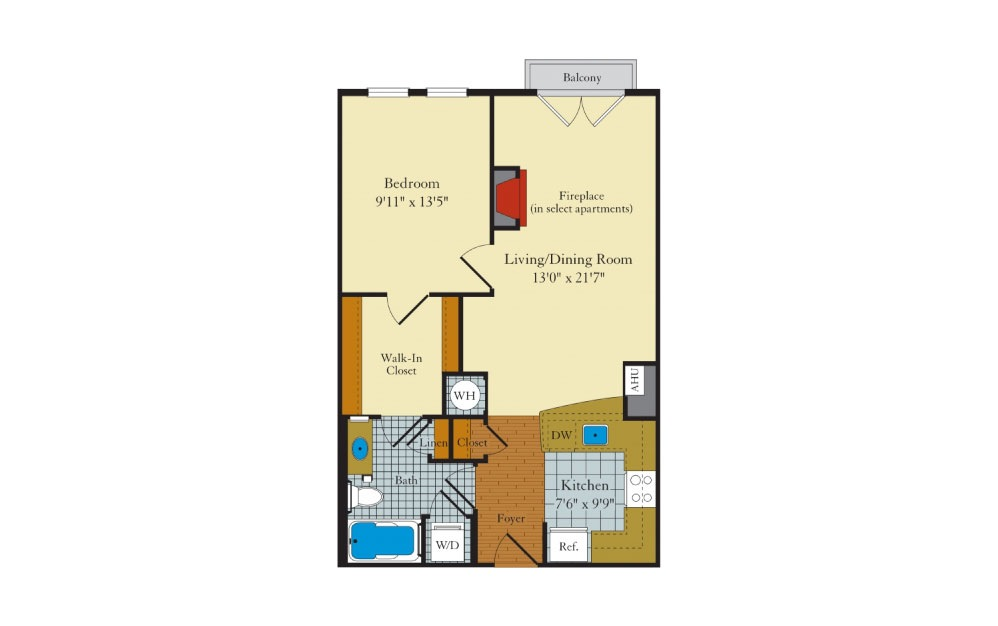 Idylwood - 1 bedroom floorplan layout with 1 bath and 698 square feet.
