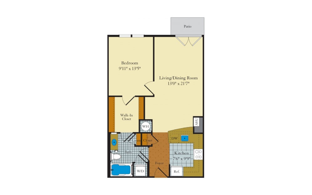 Idylwood - 1 bedroom floorplan layout with 1 bath and 699 square feet.