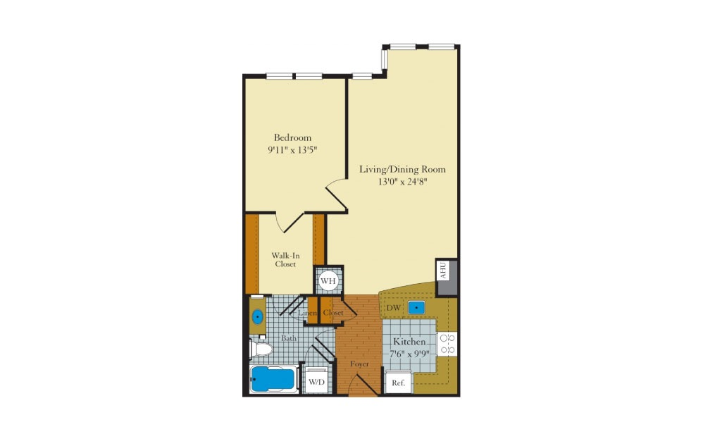 Idylwood - 1 bedroom floorplan layout with 1 bath and 721 square feet.