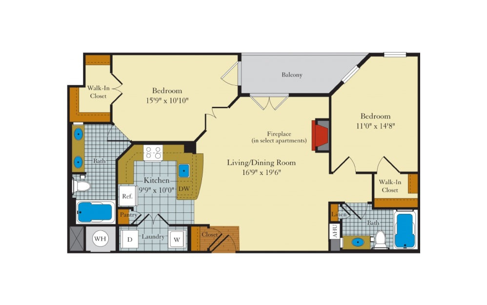 Queen Anne - 2 bedroom floorplan layout with 2 baths and 1027 square feet.